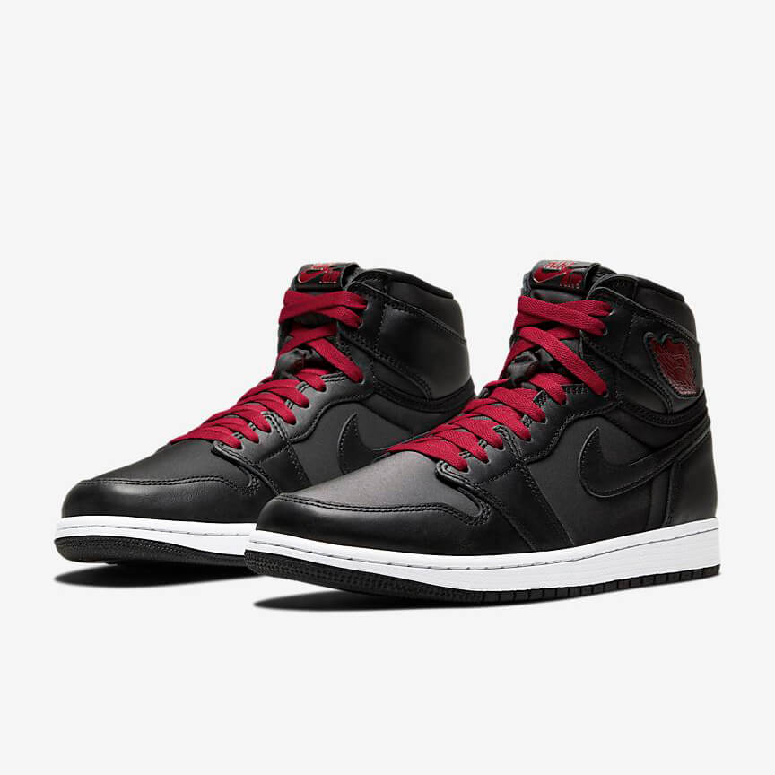 Nike Air Jordan 1 Retro High Black Satin Gym Red Sale Schwarz Rot Schuhe Damen Herren
