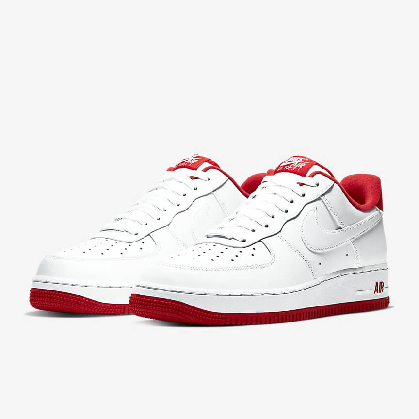 Nike Air Force 1 07 Sale Low Weiß Rot Schuhe Damen Herren