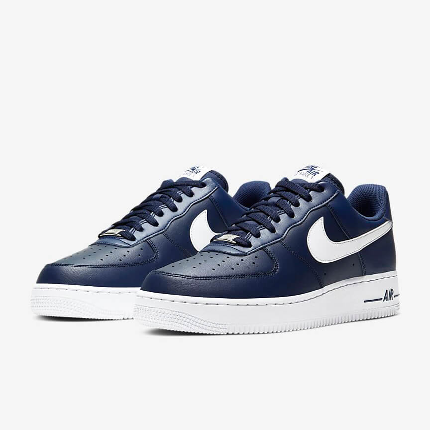 Nike Air Force 1 07 Sale Low Marine Weiß Schuhe Damen Herren
