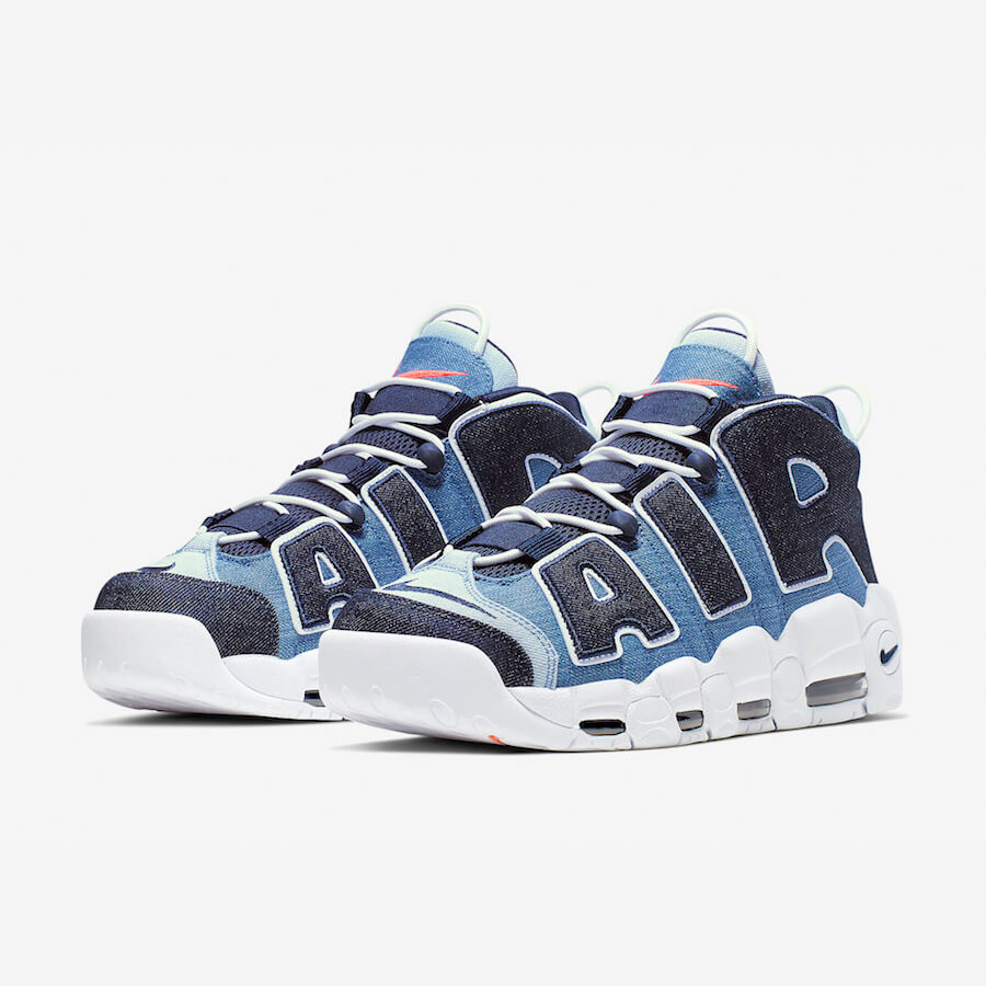 Nike Air More Uptempo 96 Denim Sale Schwarz Blau Schuhe Damen Herren